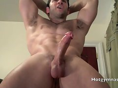Hairy Asshole on muscle stud jerking and cumming!