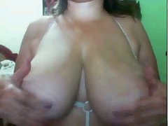 Aunty play with her big watermelons in webcam