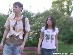 Russian brunette gets wet pussy fucked by stranger