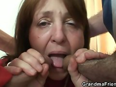 Mature slut loves two big cocks that squirts cum