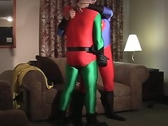 Horny gay dudes fuck hard with costumes