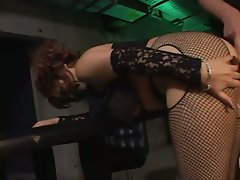 Eren in fishnets bent over, gets sweet pussy fingered and played