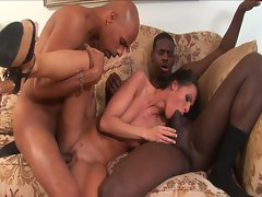 Jennifer dark sucks 2 black cocks and gets dped
