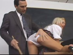Blonde schoolgirl with big tits gets ass fucking