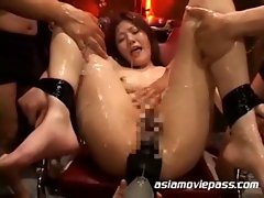 Japanese babe is hogtied and tortured
