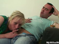Horny mom sucks son in law's cock while daughter is away