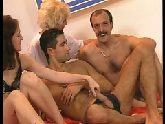 Sex test with skinny woman and hairy dudes