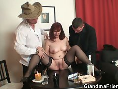 Hot mama redhead with stockings for dinner