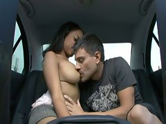 Hot ebony slut fucked in the car