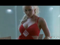 Big tits blonde secretary solo pussy stroking fun