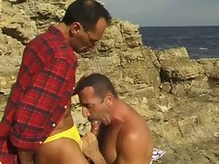 Middle aged gay guys sucking each other in the beach
