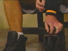 Gay slave hunk in a tight leash