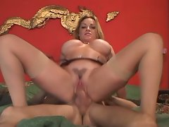 Awesome milking as monster tits blonde milf rides huge boner