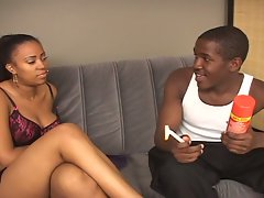 Ebony gets pussy shaved and ready to ride cock