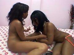 Lesbian ebony teens like to swap dildo
