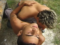 Sexy gay dudes enjoy hot fuck in the forest