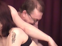 Young babe brunette has sex with uncle marty on his 60th b'day