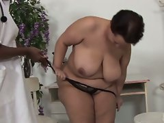 Fat brunette slut opens pussy for huge black boner