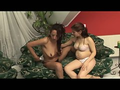 Young lesbian barefoot and pregnant interracial