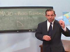 Economics professor gets double blonde classroom trouble