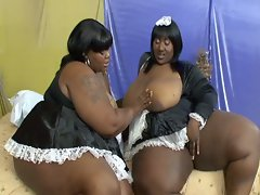 Horny lesbian bbw in maid costumes