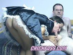 Maid fucks her master and sucks his cock