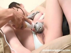 Lovely japanese babe gets pussy abused