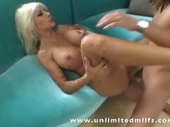 Busty milf fucked hardcore on the couch
