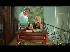 Lesbian strap on action with two hot babes