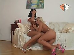 Delicious pussy playing with naughty lesbian sluts