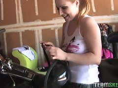 Sweet biker chick loves pov cock sucking