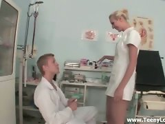 Hot blonde nurse fucks doctor in the hospital