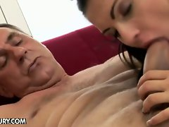 Horny old man humps Honey on the couch