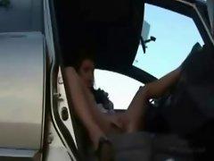 Cute arabian teen masturbates in car