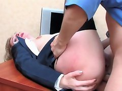 Heated babe and her co-worker discussing some issues during anal...