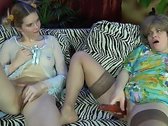 Pony-tailed gal shares her beloved sex toy with an experienced mature...