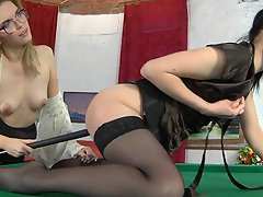 Horny lezzie in tan stocking using a cue for lez games with her...