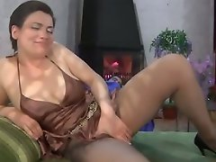 Chubby milf gets her soft silky pantyhose ripped after sizzling hot...