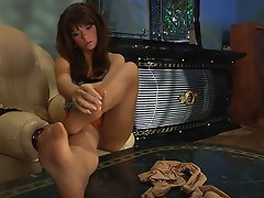 Vivacious babe tearing her silky pantyhose craving to touch her yummy...