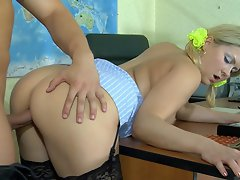 Ponytailed coed in black lace top stockings nailed on the teacher's...