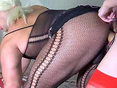 Sissified guy in sexy bodystocking swaps roles with a strap-on armed...