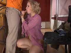 Lewd mature blonde munching on fresh meat and getting dicked on the...