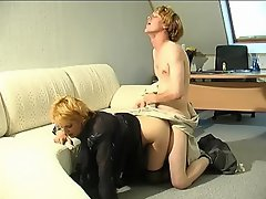 Lewd mature lady-boss having fucking amusement with her younger...