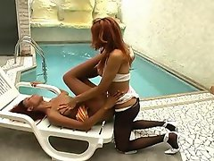 Red hot shemale fucking from behind without taking off her black...