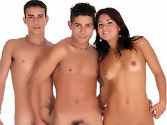 Rubi joins two bi men in the sack for her very first bisexual...