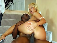 This outrageously horny blonde hooked up with a well endowed black...