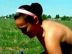 Chesti amateur wife in bikini Dasha creaming her hot body outdoors...