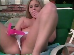 This blonde chick, Jessica Dee loves exposing her private parts while...