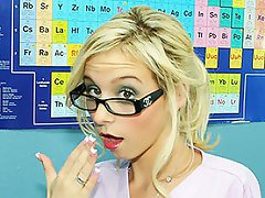 Nerdy blonde girl gets a special lesson from her teacher...