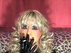 Tranny slut smoking upclose